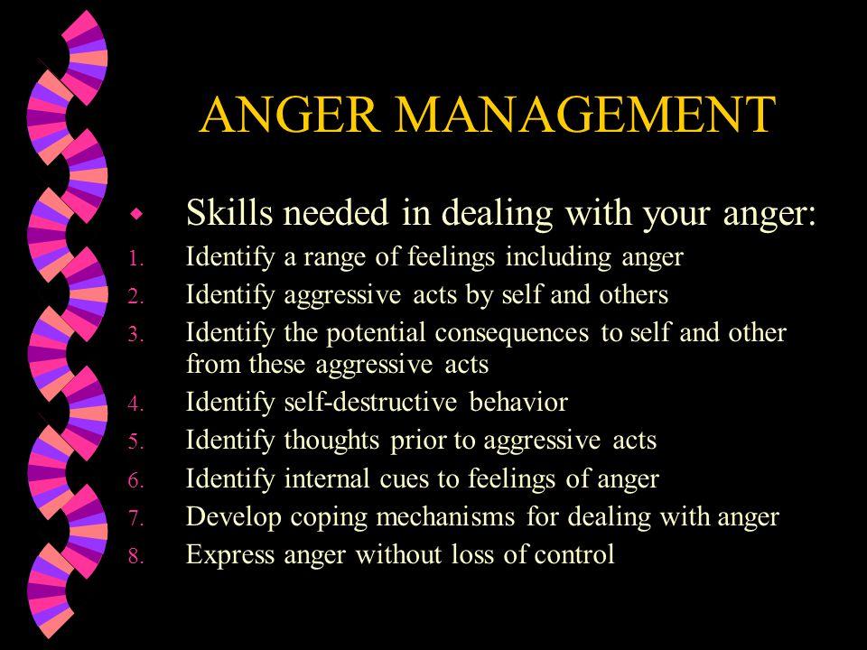ANGER MANAGEMENT w Identify self- destructive behavior…How does that help or hurt you.