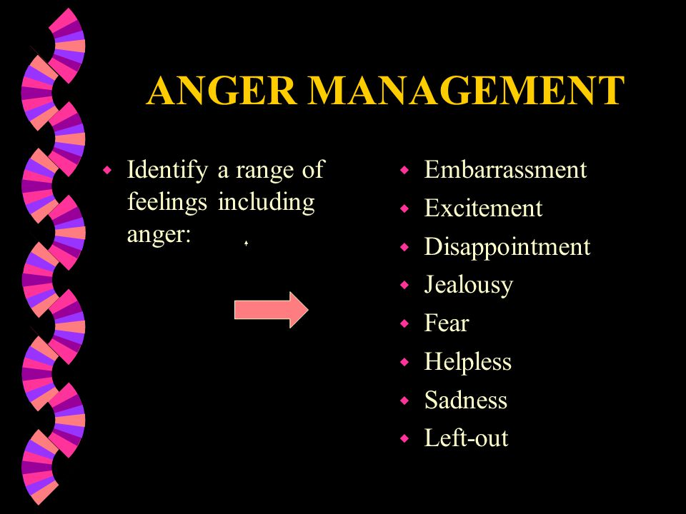 ANGER MANAGEMENT w Identify a range of feelings including anger: w Embarrassment w Excitement w Disappointment w Jealousy w Fear w Helpless w Sadness w Left-out