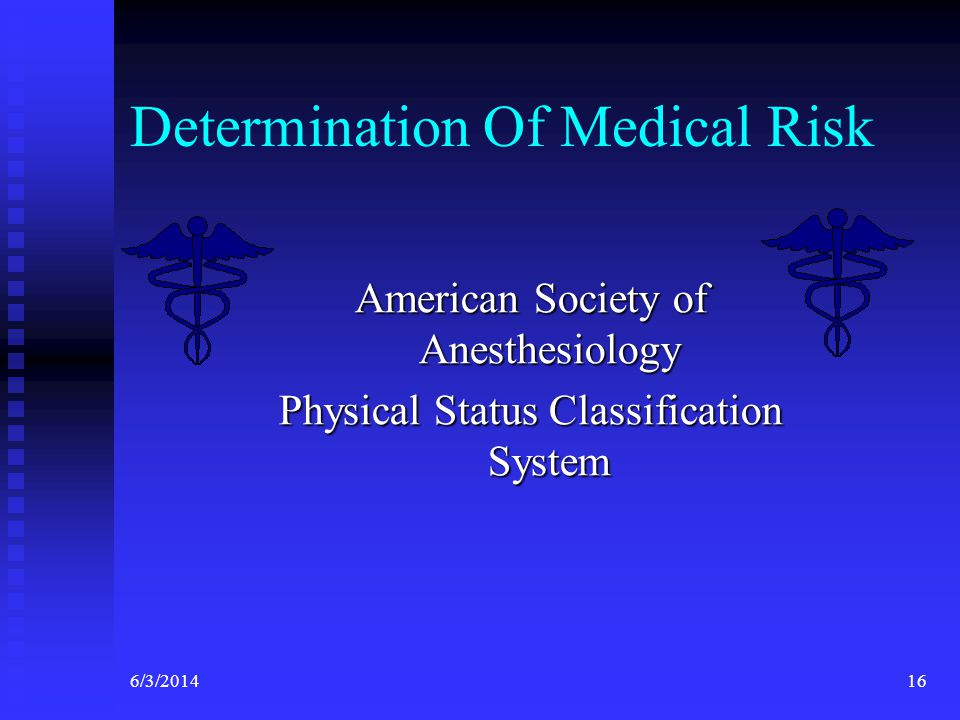 6/3/201416 Determination Of Medical Risk American Society of Anesthesiology Physical Status Classification System