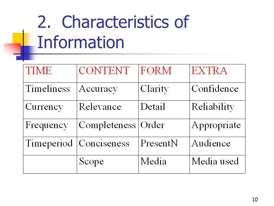 10 2. Characteristics of Information