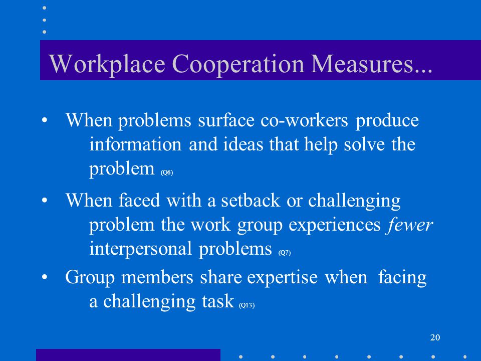20 Workplace Cooperation Measures... When problems surface co-workers produce information and ideas that help solve the problem (Q6) When faced with a