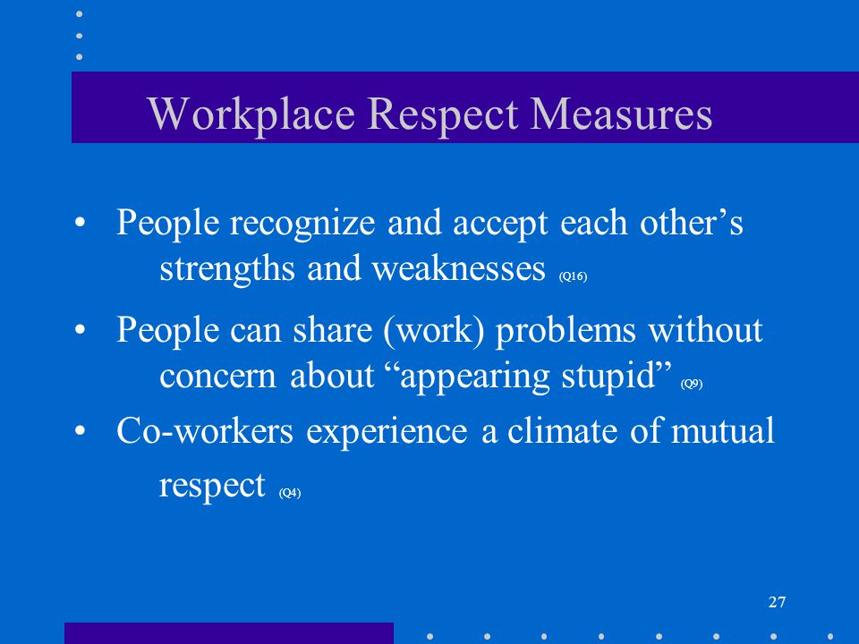27 Workplace Respect Measures People recognize and accept each others strengths and weaknesses (Q16) People can share (work) problems without concern