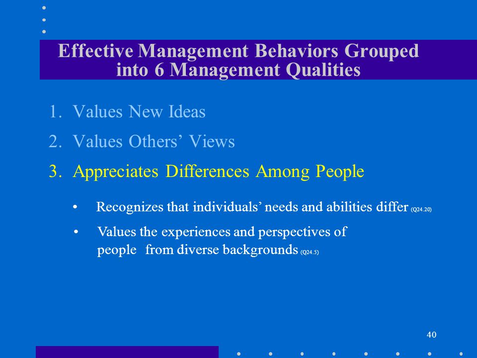 40 1.Values New Ideas 2.Values Others Views Recognizes that individuals needs and abilities differ (Q24.20) Values the experiences and perspectives of people from diverse backgrounds (Q24.5) Effective Management Behaviors Grouped into 6 Management Qualities 3.Appreciates Differences Among People