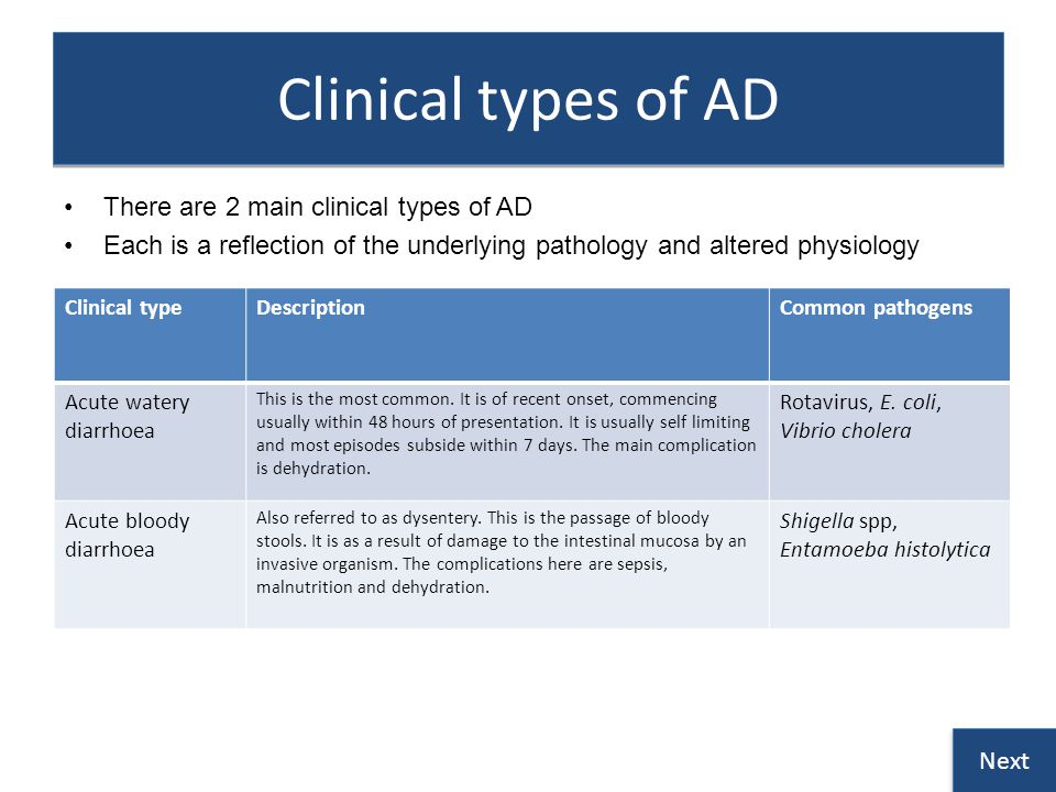 Clinical types of AD There are 2 main clinical types of AD Each is a reflection of the underlying pathology and altered physiology Clinical typeDescriptionCommon pathogens Acute watery diarrhoea This is the most common.