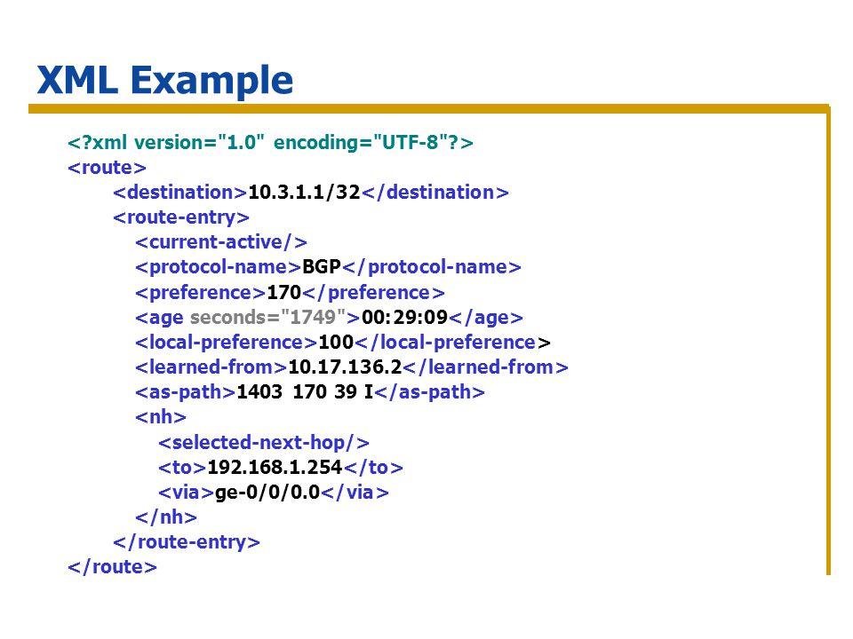 10.3.1.1/32 BGP 170 00:29:09 100 10.17.136.2 1403 170 39 I 192.168.1.254 ge-0/0/0.0 XML Example