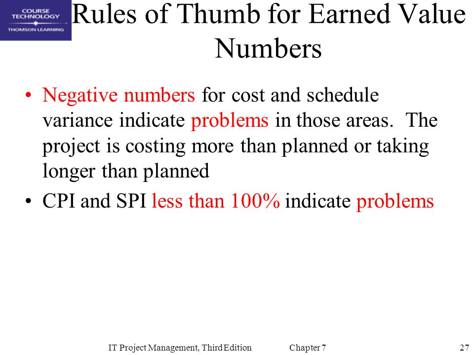 27IT Project Management, Third Edition Chapter 7 Rules of Thumb for Earned Value Numbers Negative numbers for cost and schedule variance indicate prob