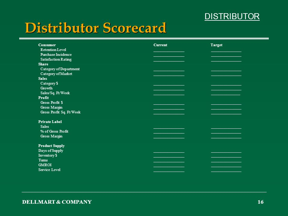 DELLMART & COMPANY16 Distributor Scorecard ConsumerCurrent Target Retention Level______________________________ Purchase Incidence____________________
