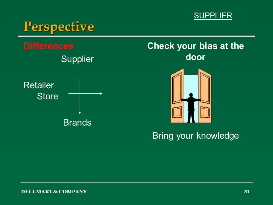 DELLMART & COMPANY31 Perspective Differences Supplier Retailer Store Brands Check your bias at the door Bring your knowledge SUPPLIER