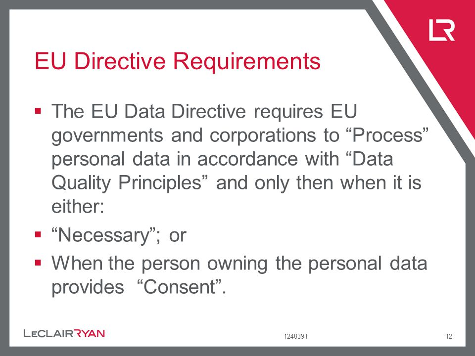 124839112 EU Directive Requirements The EU Data Directive requires EU governments and corporations to Process personal data in accordance with Data Qu