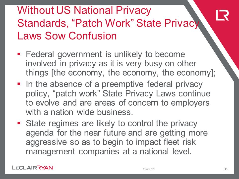 124839135 Without US National Privacy Standards, Patch Work State Privacy Laws Sow Confusion Federal government is unlikely to become involved in priv
