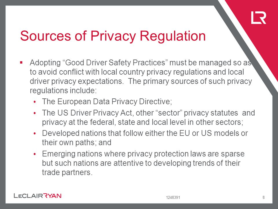 124839139 Relevant Good Practices in Privacy Are Not Just in Fleet Risk Management Note that relevant good practices in data privacy can also arise outside of the Fleet Risk Management industry.