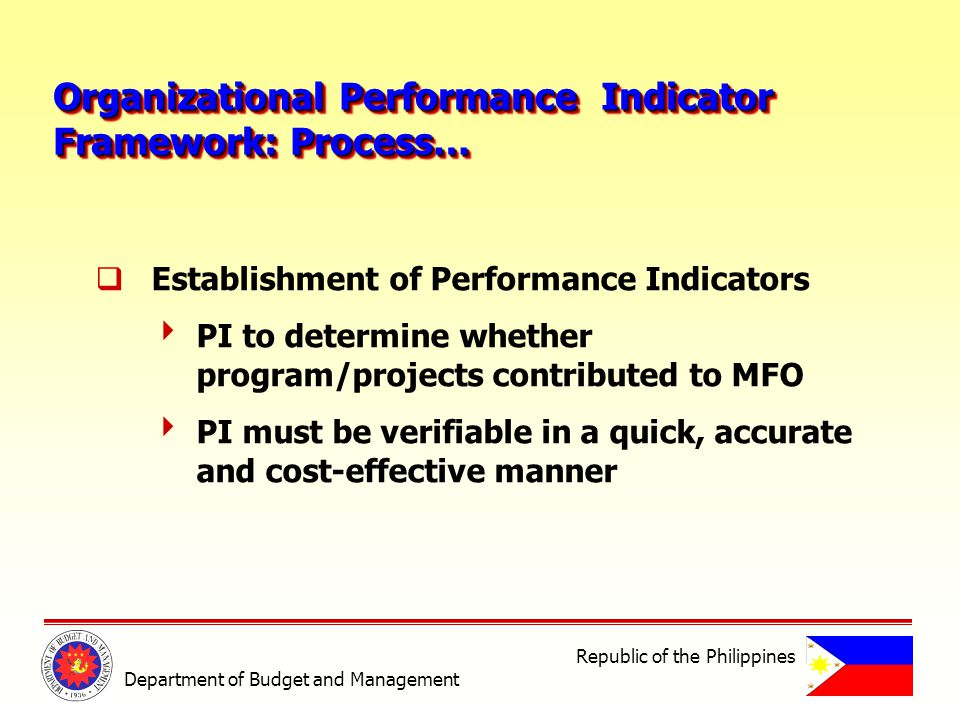 Organizational Performance Indicator Framework: Process… Organizational Performance Indicator Framework: Process… Establishment of Performance Indicators PI to determine whether program/projects contributed to MFO PI must be verifiable in a quick, accurate and cost-effective manner Department of Budget and Management Republic of the Philippines