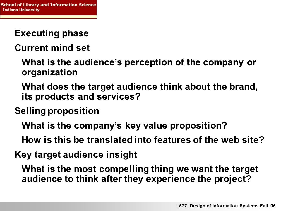 L577: Design of Information Systems Fall 06 Executing phase Current mind set What is the audiences perception of the company or organization What does the target audience think about the brand, its products and services.
