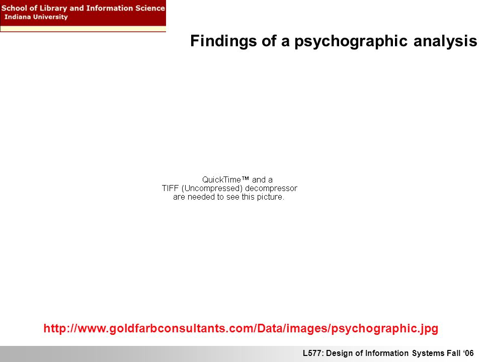 L577: Design of Information Systems Fall 06 http://www.goldfarbconsultants.com/Data/images/psychographic.jpg Findings of a psychographic analysis