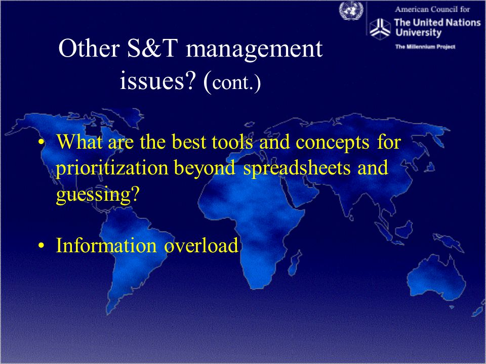 Other S&T management issues.