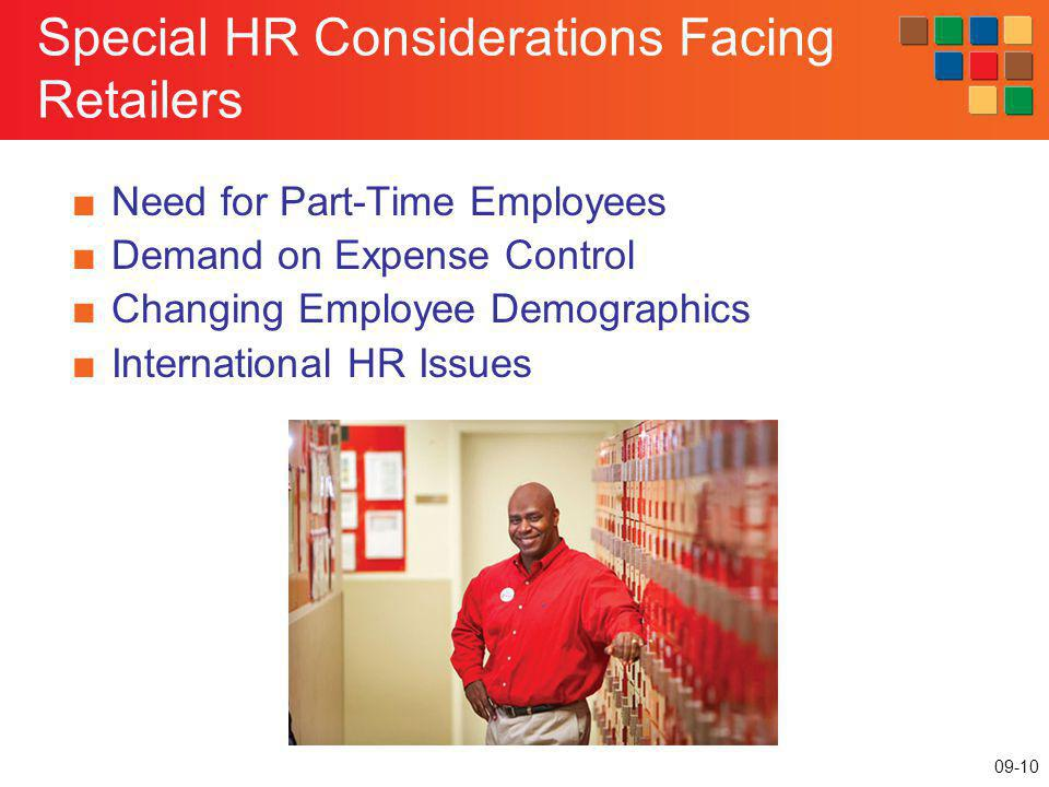 09-10 Special HR Considerations Facing Retailers Need for Part-Time Employees Demand on Expense Control Changing Employee Demographics International H