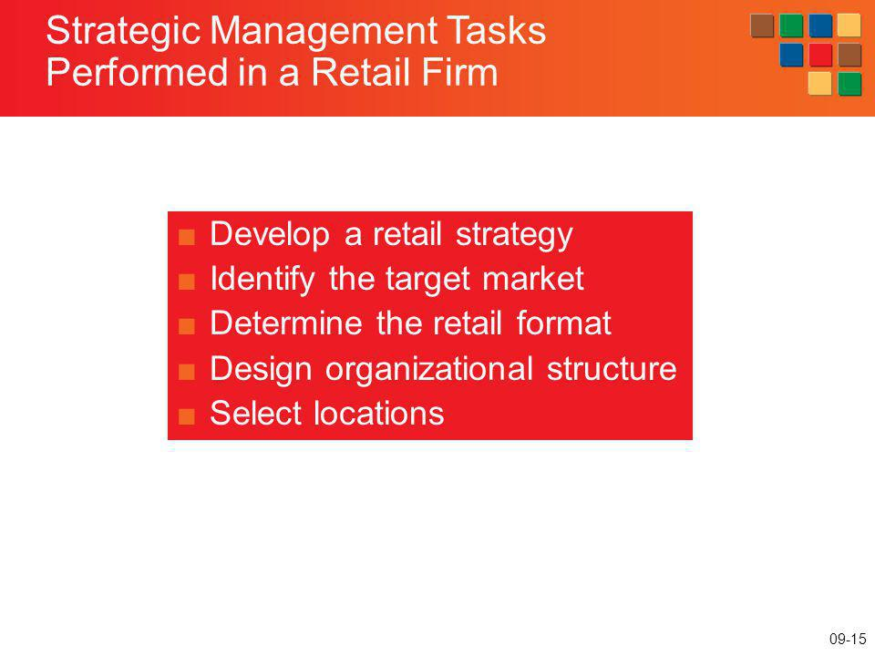 09-15 Strategic Management Tasks Performed in a Retail Firm Develop a retail strategy Identify the target market Determine the retail format Design or