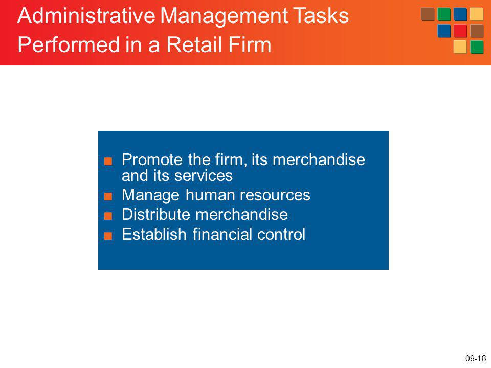 09-18 Administrative Management Tasks Performed in a Retail Firm Promote the firm, its merchandise and its services Manage human resources Distribute