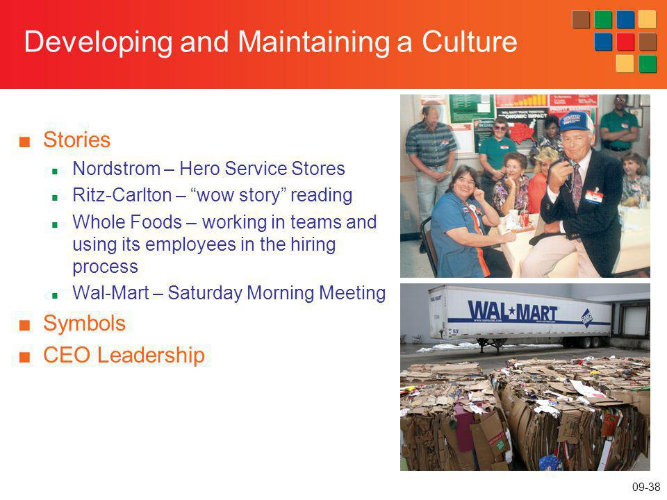 09-38 Developing and Maintaining a Culture Stories Nordstrom – Hero Service Stores Ritz-Carlton – wow story reading Whole Foods – working in teams and