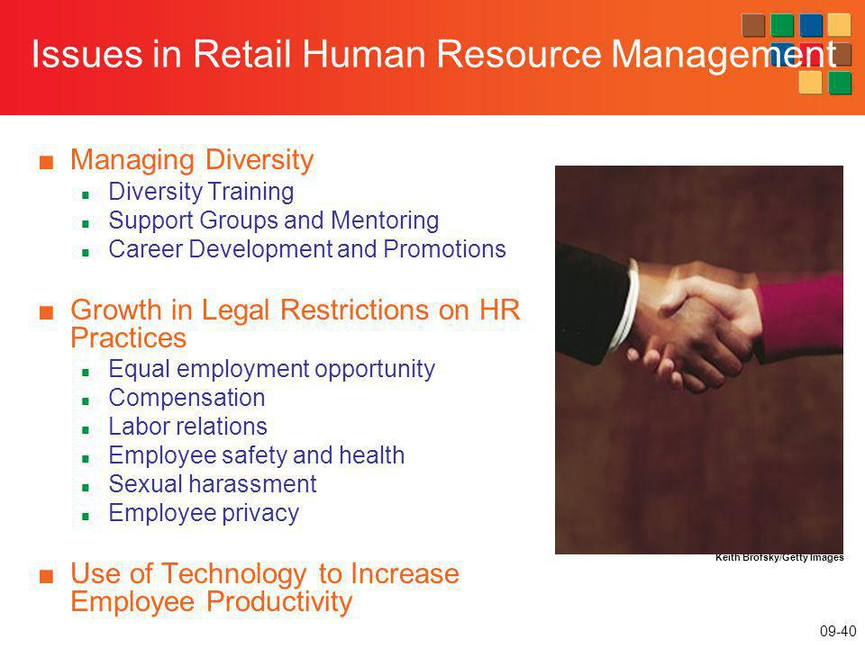 09-40 Issues in Retail Human Resource Management Managing Diversity Diversity Training Support Groups and Mentoring Career Development and Promotions