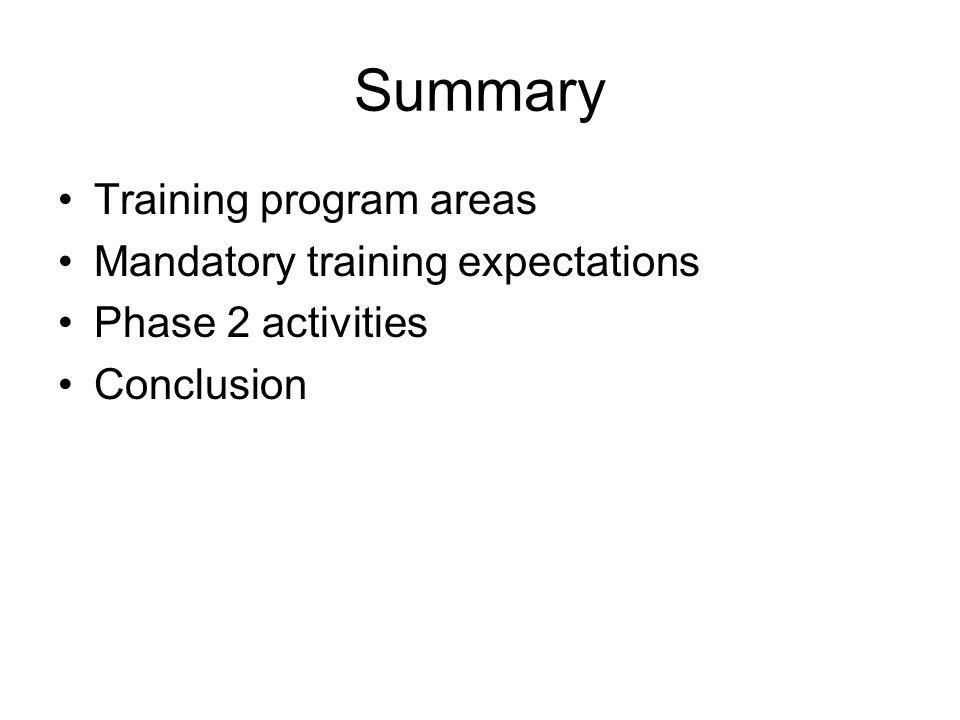 Summary Training program areas Mandatory training expectations Phase 2 activities Conclusion