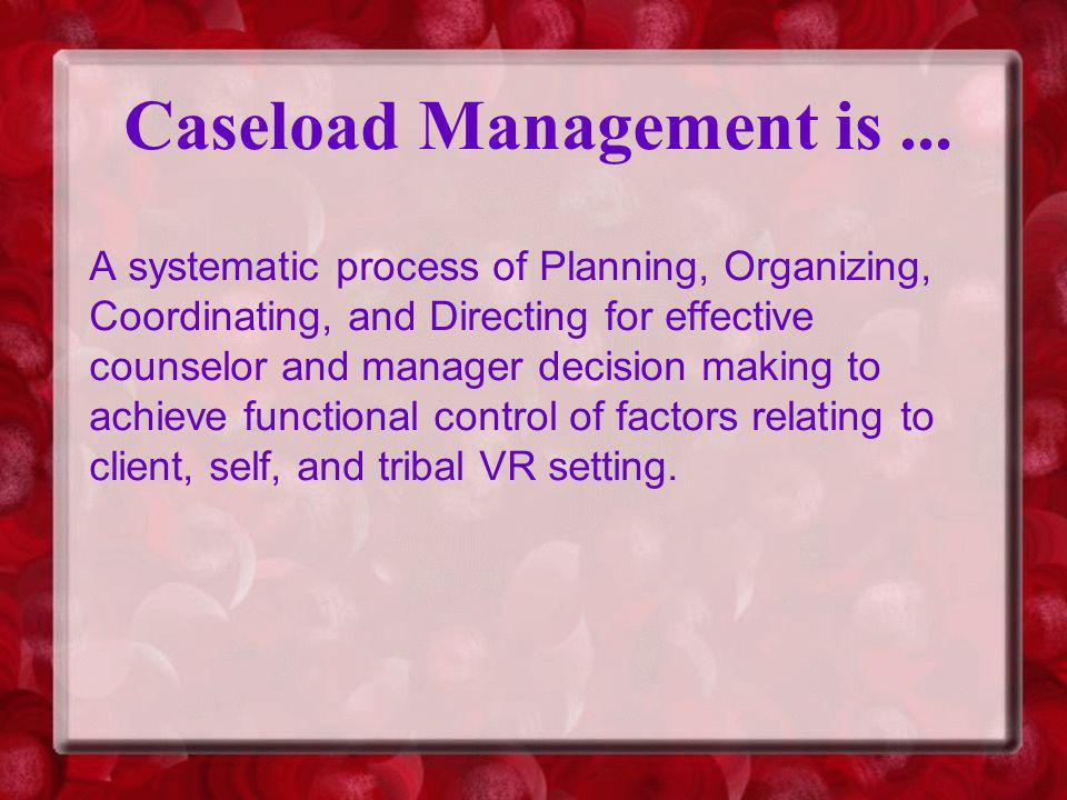 Caseload Management is...