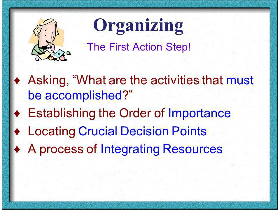 Organizing Asking, What are the activities that must be accomplished.