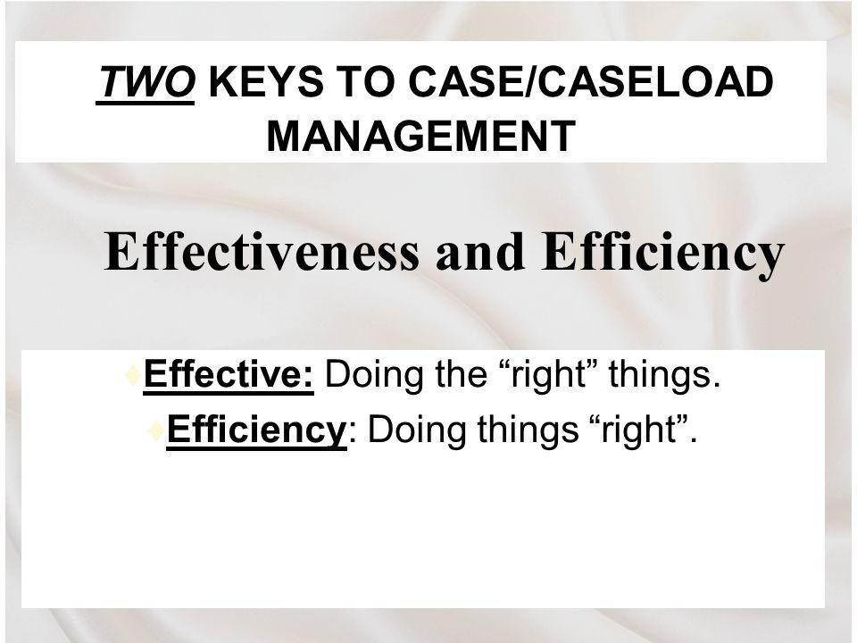 TWO KEYS TO CASE/CASELOAD MANAGEMENT Effective: Doing the right things.