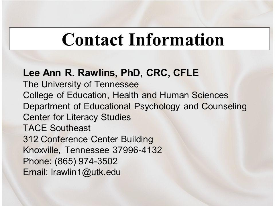 Contact Information Lee Ann R.