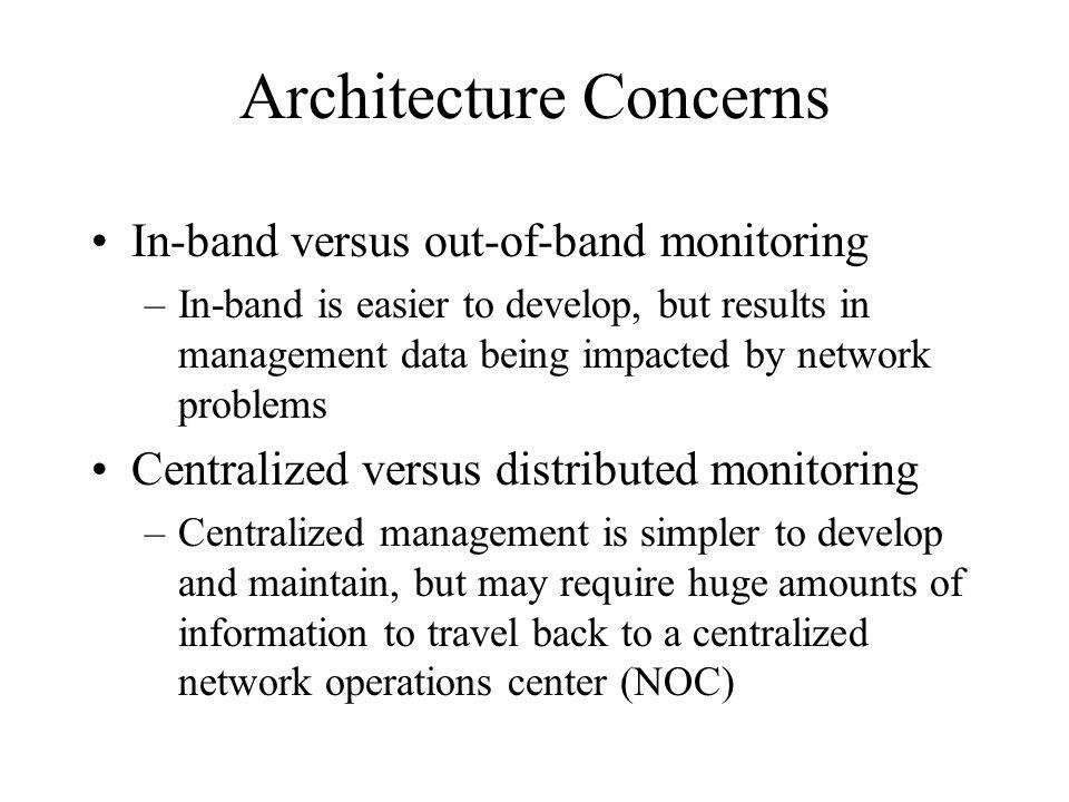 Architecture Concerns In-band versus out-of-band monitoring –In-band is easier to develop, but results in management data being impacted by network problems Centralized versus distributed monitoring –Centralized management is simpler to develop and maintain, but may require huge amounts of information to travel back to a centralized network operations center (NOC)