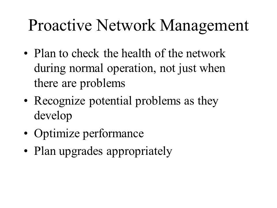 Network Management Processes According to the ISO Fault management Configuration management Accounting management Performance management Security management