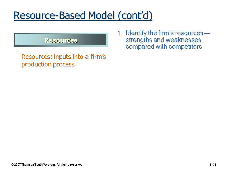 © 2007 Thomson/South-Western. All rights reserved.1–31 Resource-Based Model (contd) 1.Identify the firms resources strengths and weaknesses compared w