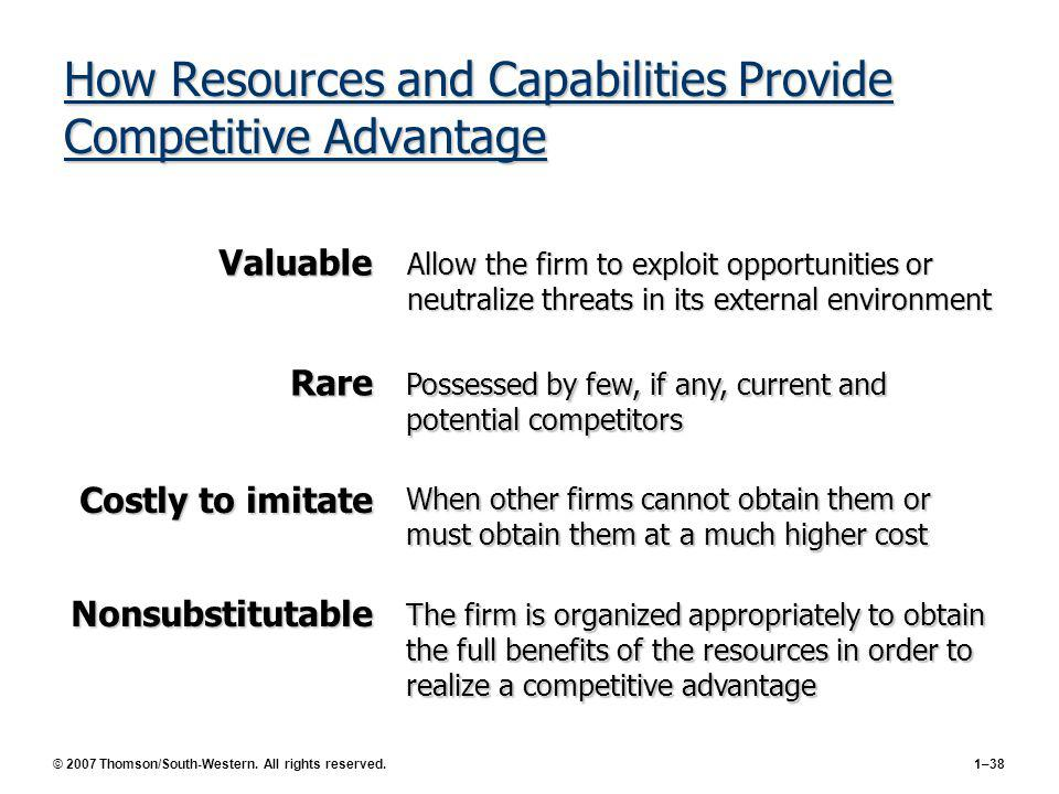 © 2007 Thomson/South-Western. All rights reserved.1–38 How Resources and Capabilities Provide Competitive Advantage The firm is organized appropriatel