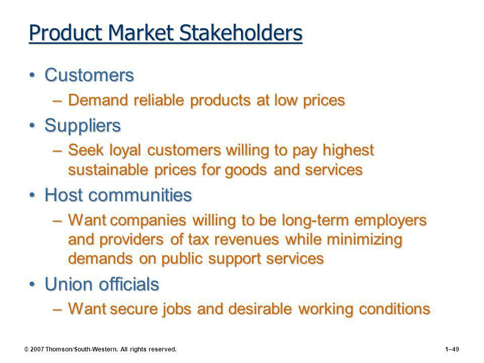 © 2007 Thomson/South-Western. All rights reserved.1–49 Product Market Stakeholders CustomersCustomers –Demand reliable products at low prices Supplier