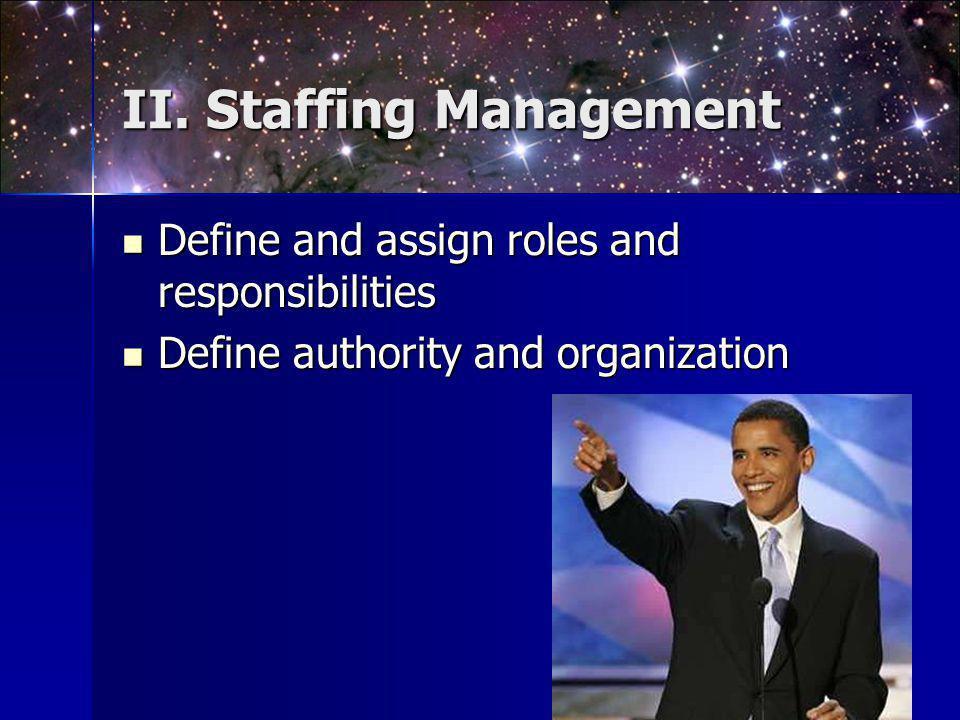 II. Staffing Management Define and assign roles and responsibilities Define and assign roles and responsibilities Define authority and organization De