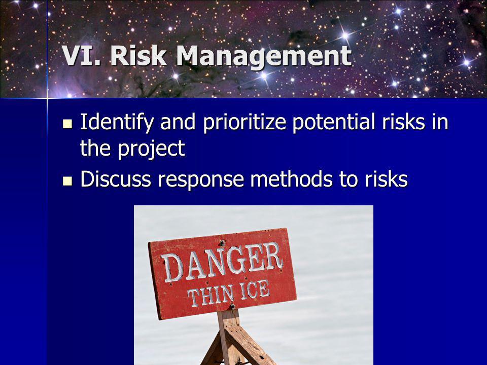 VI. Risk Management Identify and prioritize potential risks in the project Identify and prioritize potential risks in the project Discuss response met