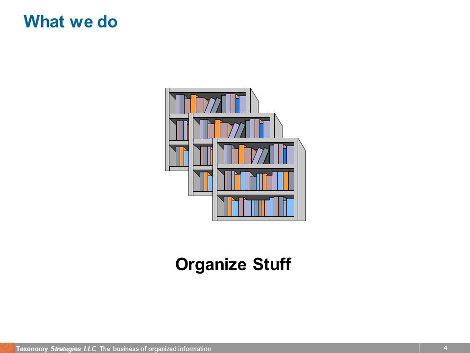 4 Taxonomy Strategies LLC The business of organized information What we do Organize Stuff
