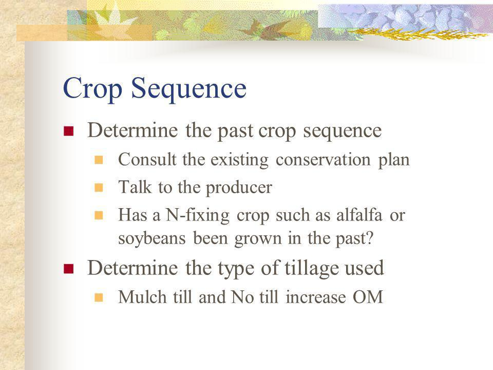 Crop Sequence Determine the past crop sequence Consult the existing conservation plan Talk to the producer Has a N-fixing crop such as alfalfa or soyb