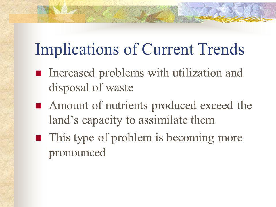 Implications of Current Trends Increased problems with utilization and disposal of waste Amount of nutrients produced exceed the lands capacity to ass