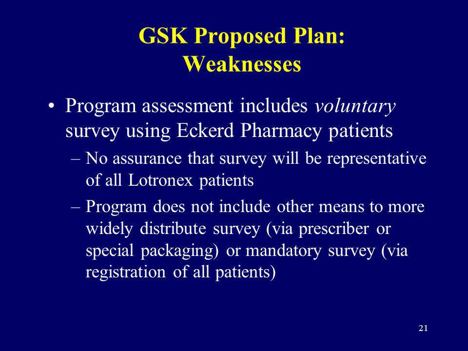 21 GSK Proposed Plan: Weaknesses Program assessment includes voluntary survey using Eckerd Pharmacy patients –No assurance that survey will be represe