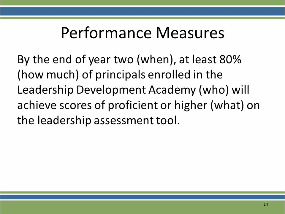 Performance Measures By the end of year two (when), at least 80% (how much) of principals enrolled in the Leadership Development Academy (who) will ac
