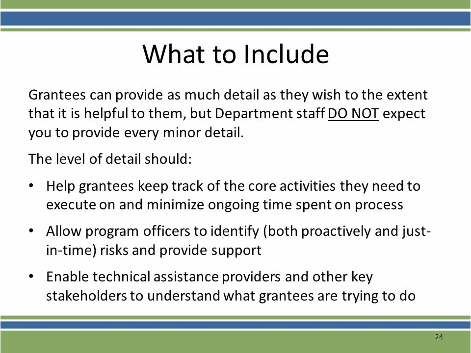 What to Include Grantees can provide as much detail as they wish to the extent that it is helpful to them, but Department staff DO NOT expect you to p