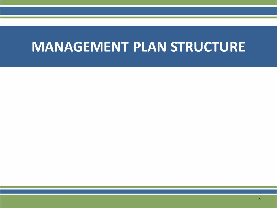 Management Plan Components There are four levels of information that the management plan should include: Objectives: What your project is doing to support the overall program goal (approved in application – cannot be changed) Strategies: What are the major initiatives/components of the intervention required to complete each phase of your grant in support of ultimately achieving project objectives.