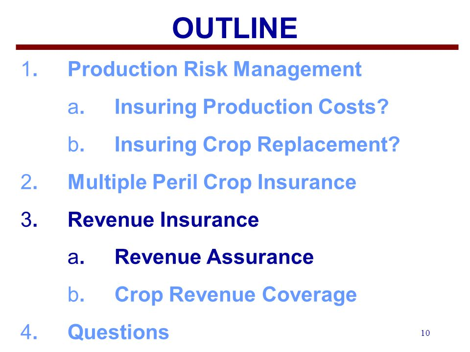 10 OUTLINE 1.Production Risk Management a. Insuring Production Costs.
