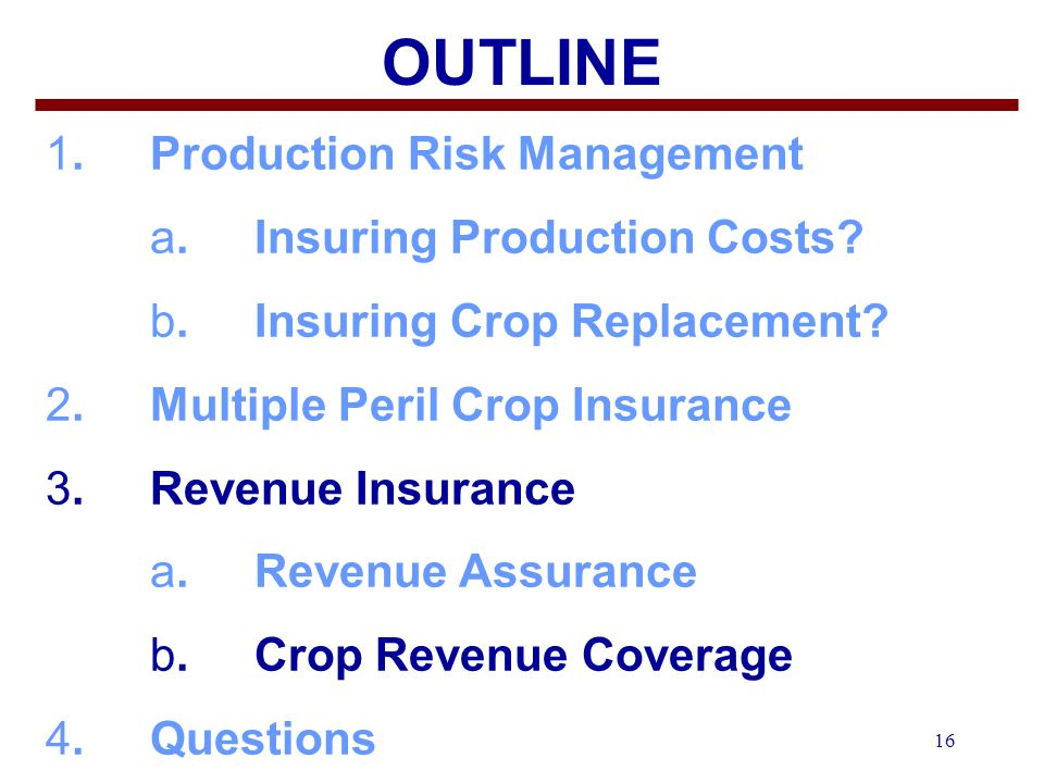 16 OUTLINE 1.Production Risk Management a. Insuring Production Costs.