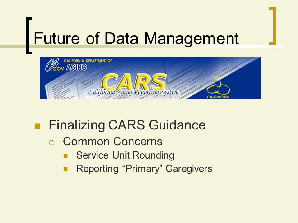 Finalizing CARS Guidance Common Concerns Service Unit Rounding Reporting Primary Caregivers