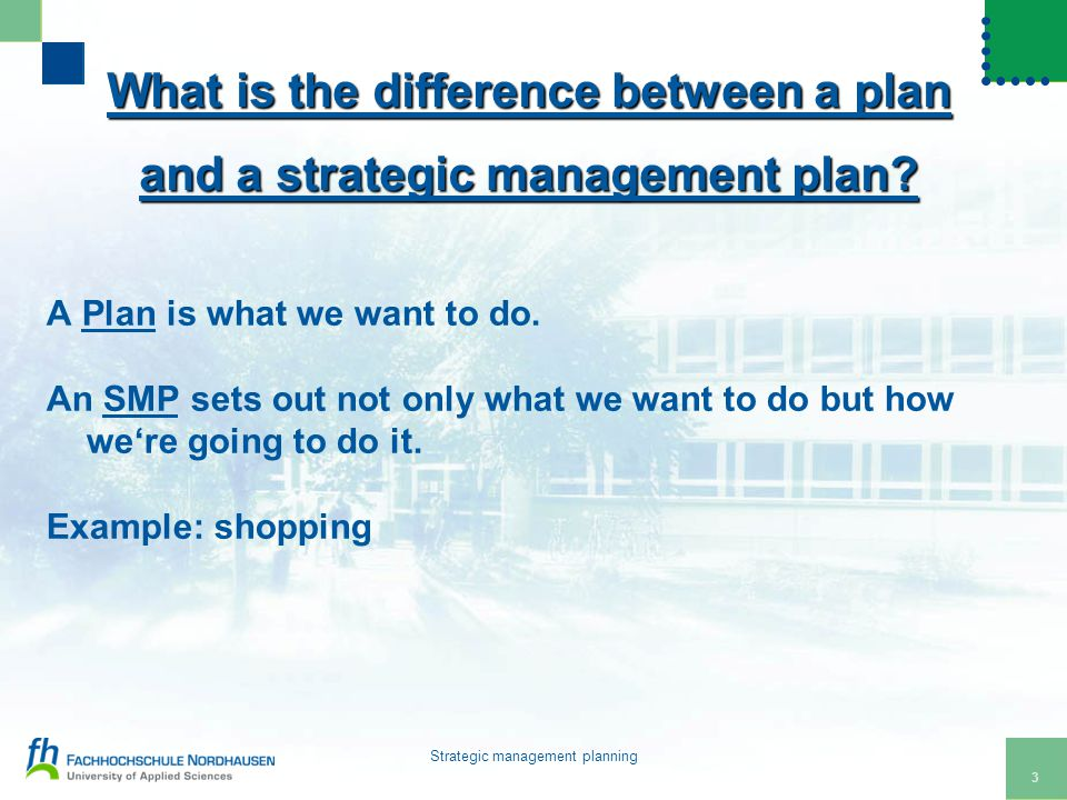 4 Strategic management planning How many of you have a plan for your life.