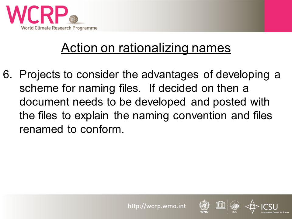 Action on rationalizing names 6.Projects to consider the advantages of developing a scheme for naming files.