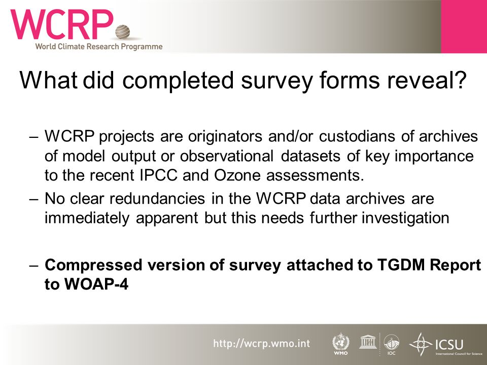Issues addressed in TGDM document to WOAP-4 WCRP has varied and dispersed data management challenge (observation, synthesis and modelling datasets) Should we update and develop earlier survey and publish on web.
