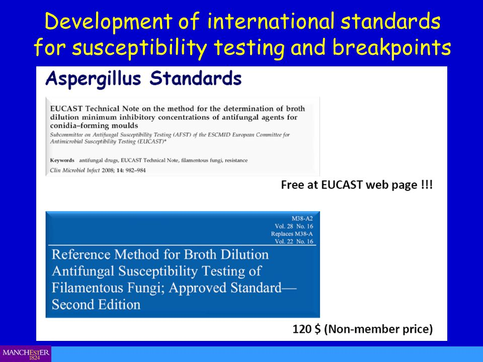 Development of international standards for susceptibility testing and breakpoints